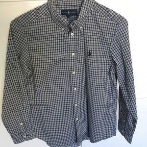 Boys Large Ralph Lauren Dress Shirt Black White